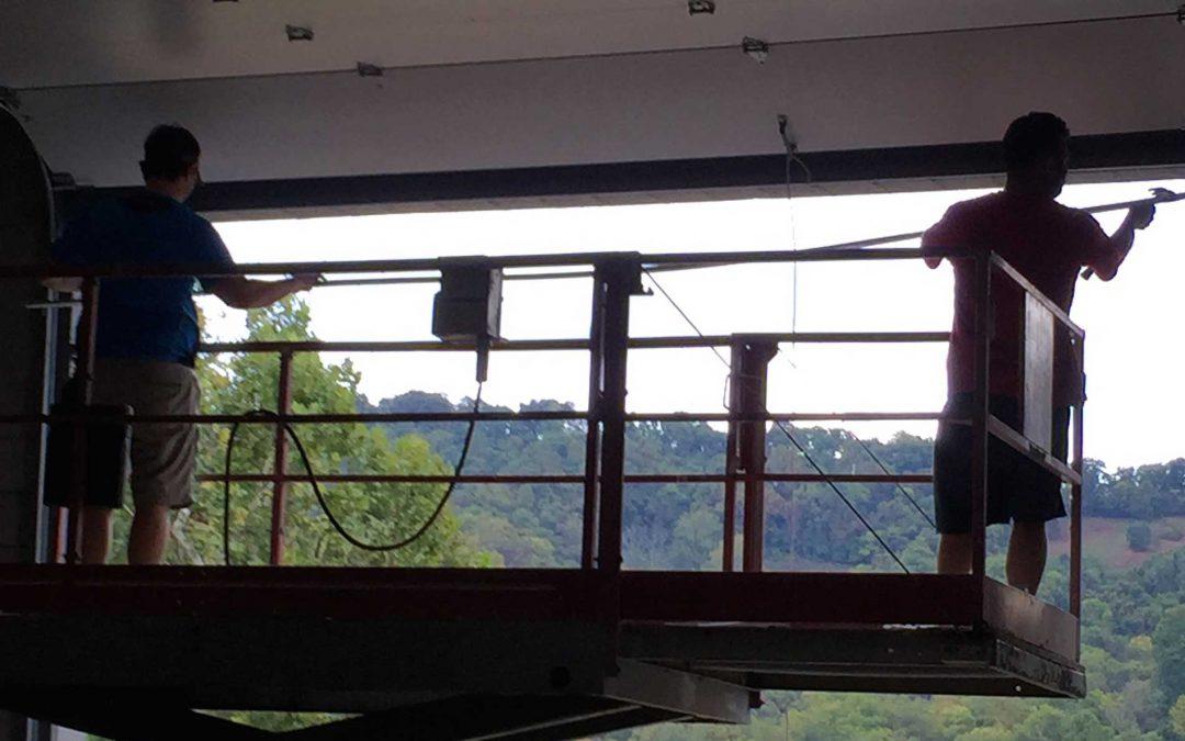 Garage door insulation installation